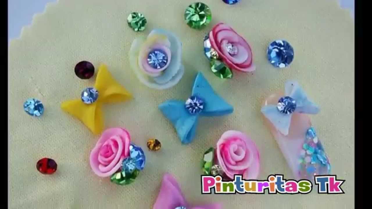 Como hacer moño y rosa de acrílico   Diseño de uñas   Pinterest ...