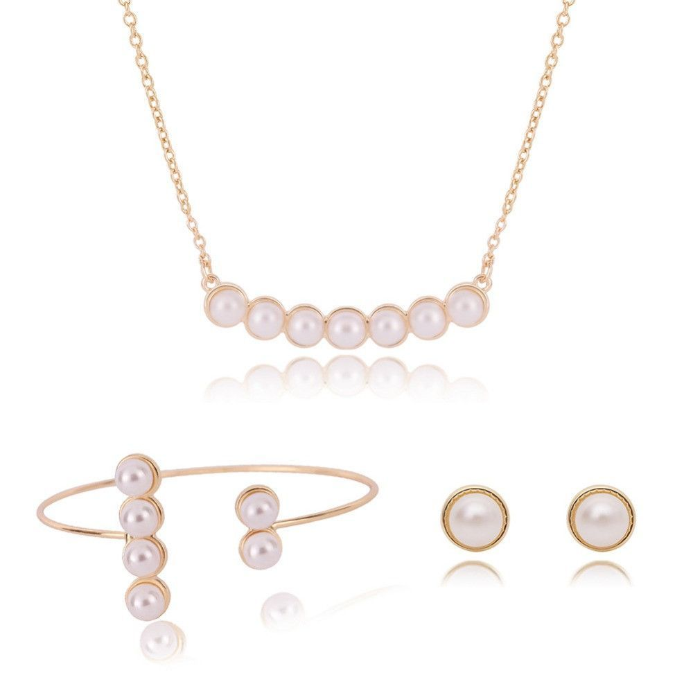 European and american jewelry women crystal simulated pearl jewelry