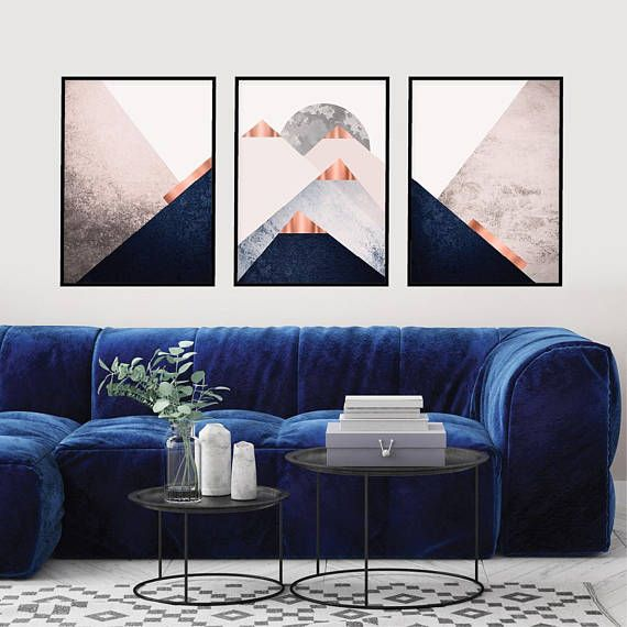 Pink And Gold Living Room Ideas: Blush Pink Navy Rose Gold Printable Mountains Wall Art Set