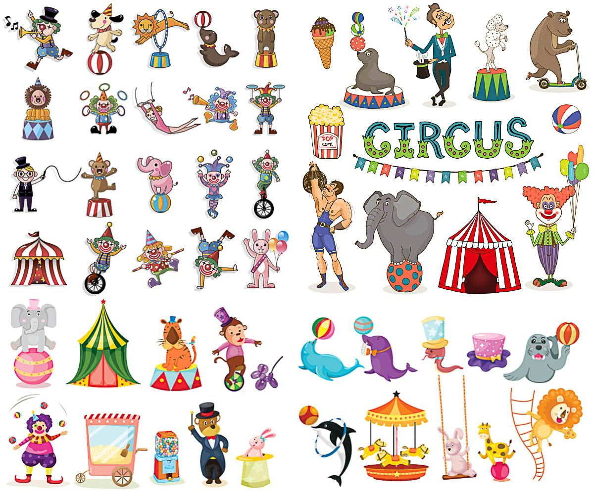 Circus Animals And Clowns Vector We Have Over 10 000