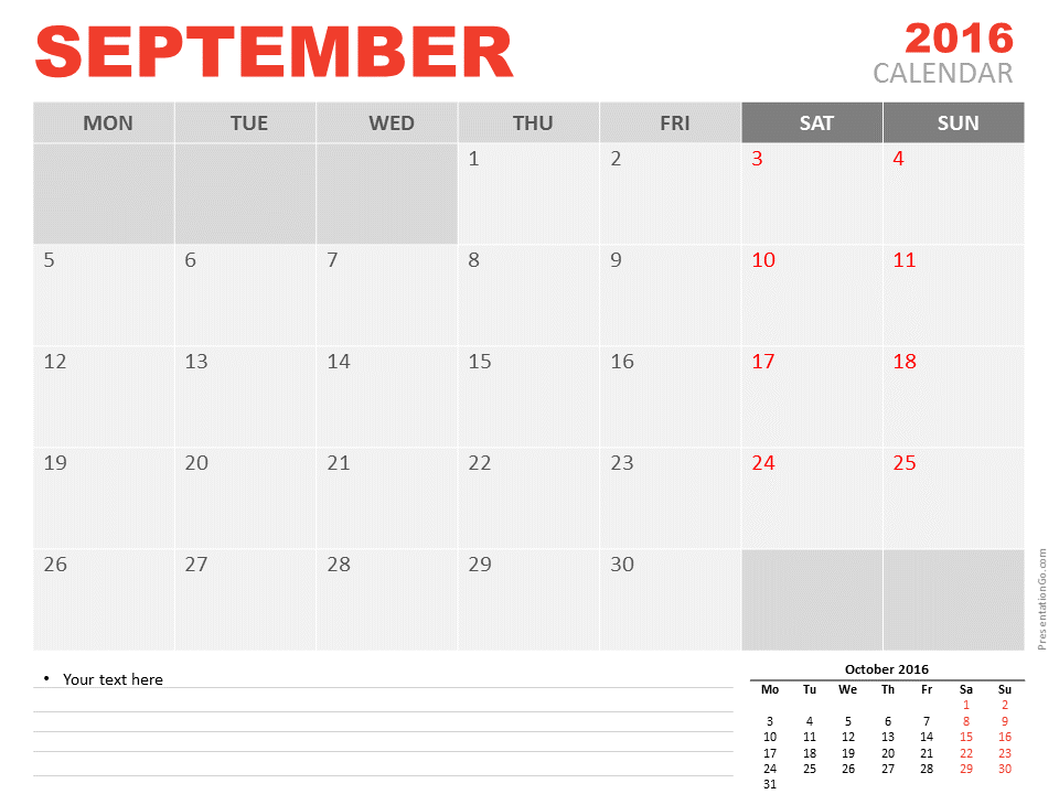 Free September 2016 PowerPoint Calendar