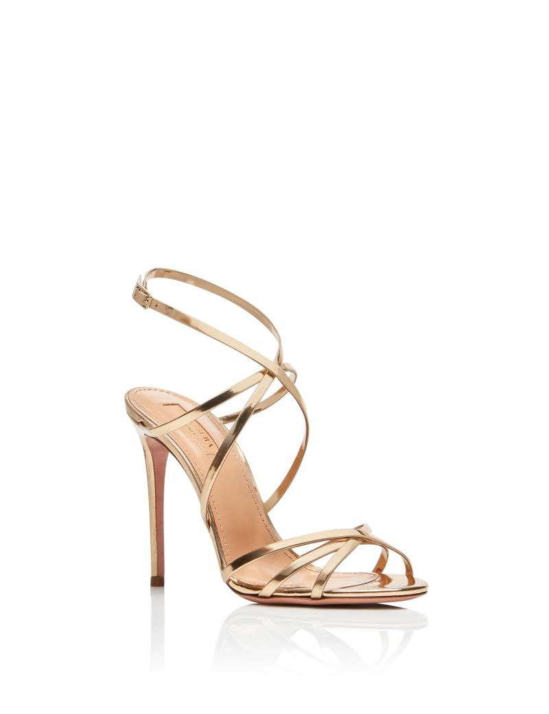 5509bb7ee AQUAZZURA - Gin Sandal 105 - SOFT GOLD - MIRRORED LEATHER | Wedding ...