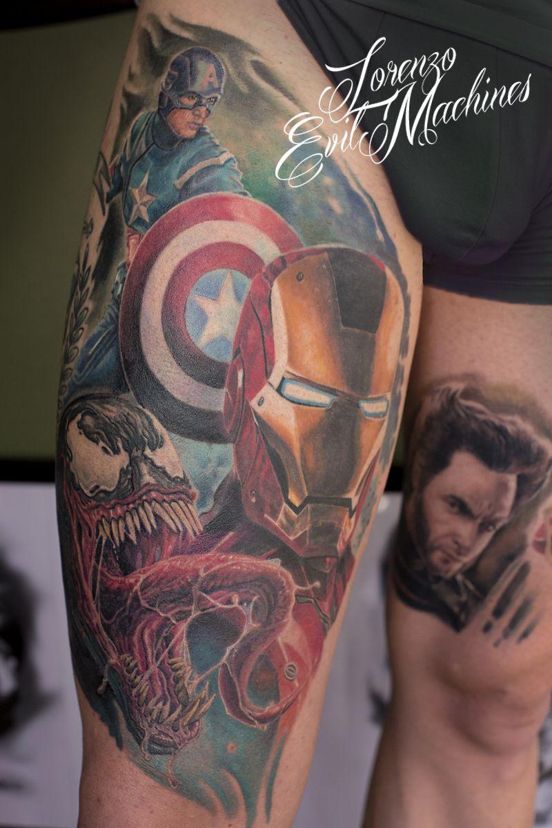 Marvel Realistic Color Tattoo Captain America