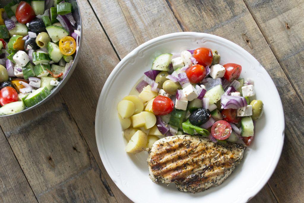 Griekse kip en salade
