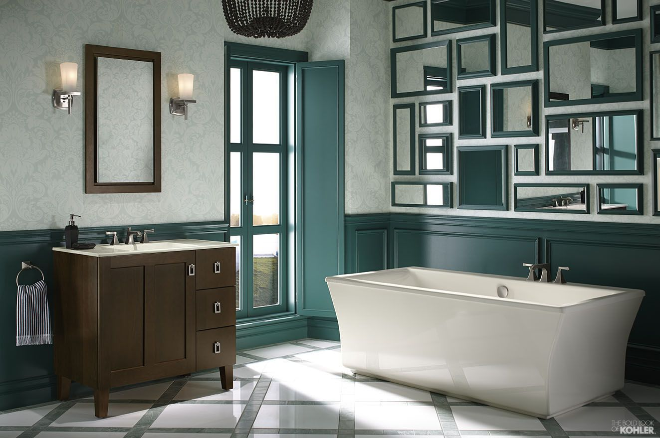 Green and white bathroom featuring Kohler Poplin vanity and ...