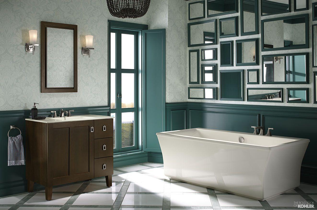 Green And White Bathroom Featuring Kohler Poplin Vanity