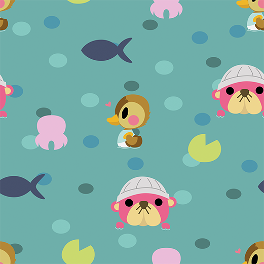 Animal Crossing Cute Art Animal Crossing Water Pattern By