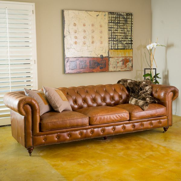 Chesterfield Tufted Leather Sofa By Christopher Knight Home By Christopher  Knight Home