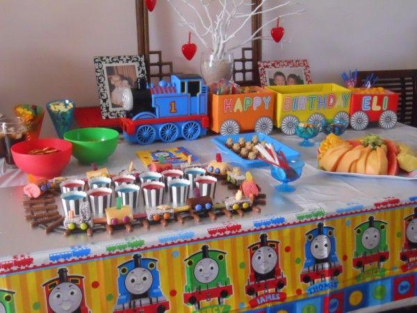 Thomas The Tank Engine Party Food Table Trains Birthday Party Thomas The Train Birthday Party Thomas Birthday