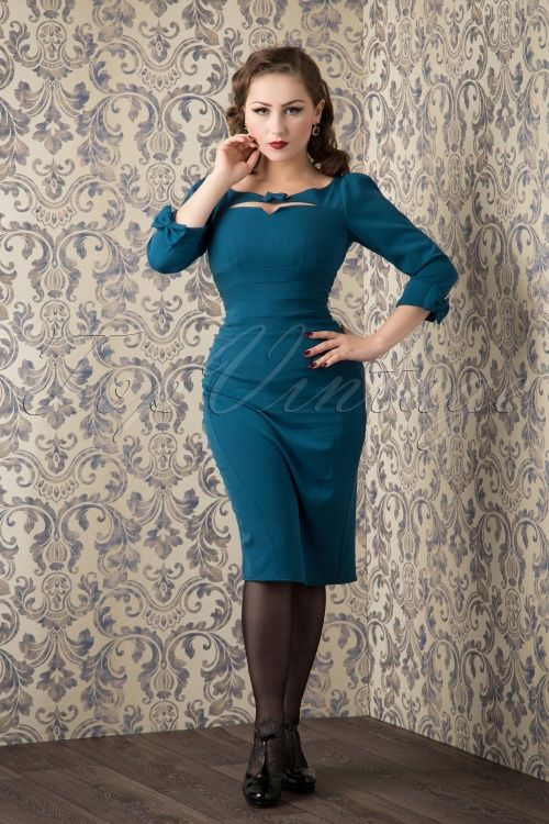 Miss Candyfloss Blue Pencil Dress with Bow 100 20 16247 20151016 721W