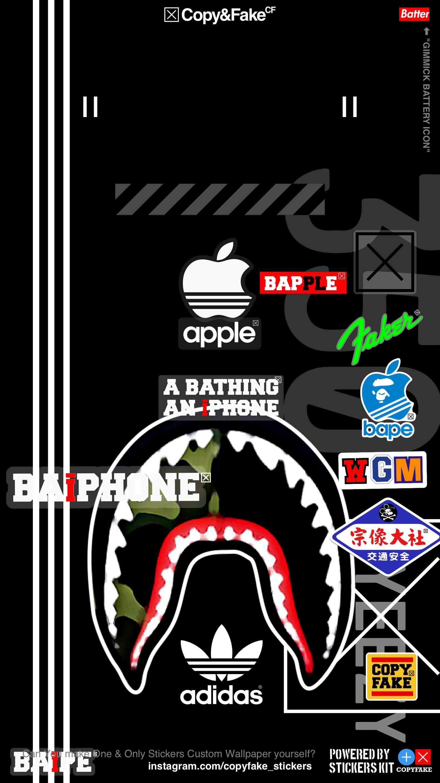 Bape Adidas Stickers Wallpaper Blk Made By Stickers Kit Bape Wallpaper Iphone Hypebeast Iphone Wallpaper Rapper Wallpaper Iphone