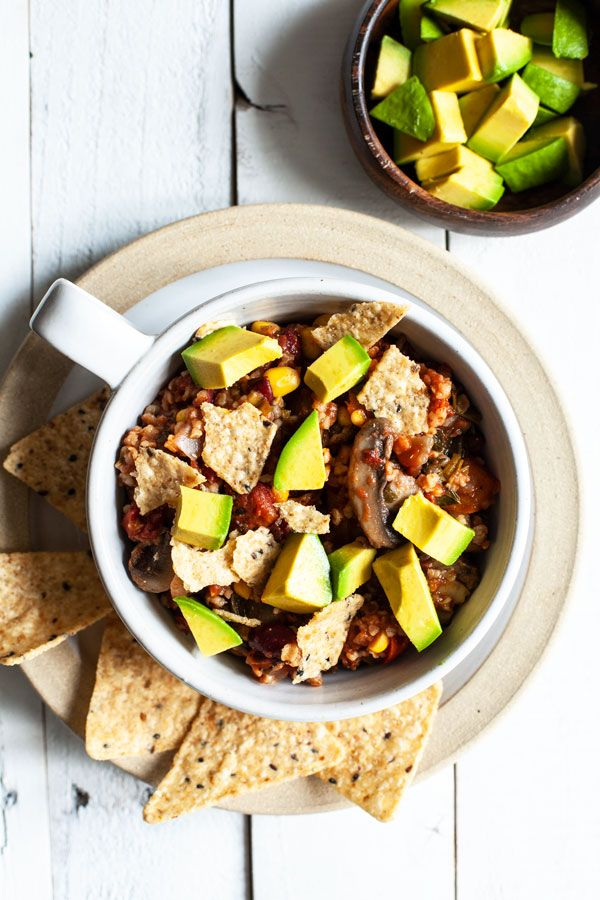 Hearty Vegan Mushroom Bulgur Bean Chili