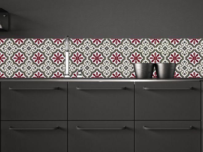r tro une cr dence fa on carreaux de ciment cuisine. Black Bedroom Furniture Sets. Home Design Ideas