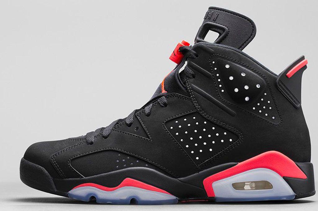 Nike Air Jordan 6 Chaussures En Noir  / Fond Rouge