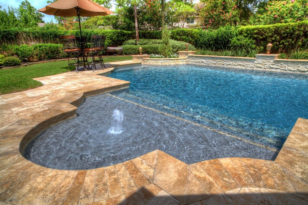 Pool And Waterscape Design Gallery The Woodlands Houston Pool Landscaping Backyard Pool Pool Patio
