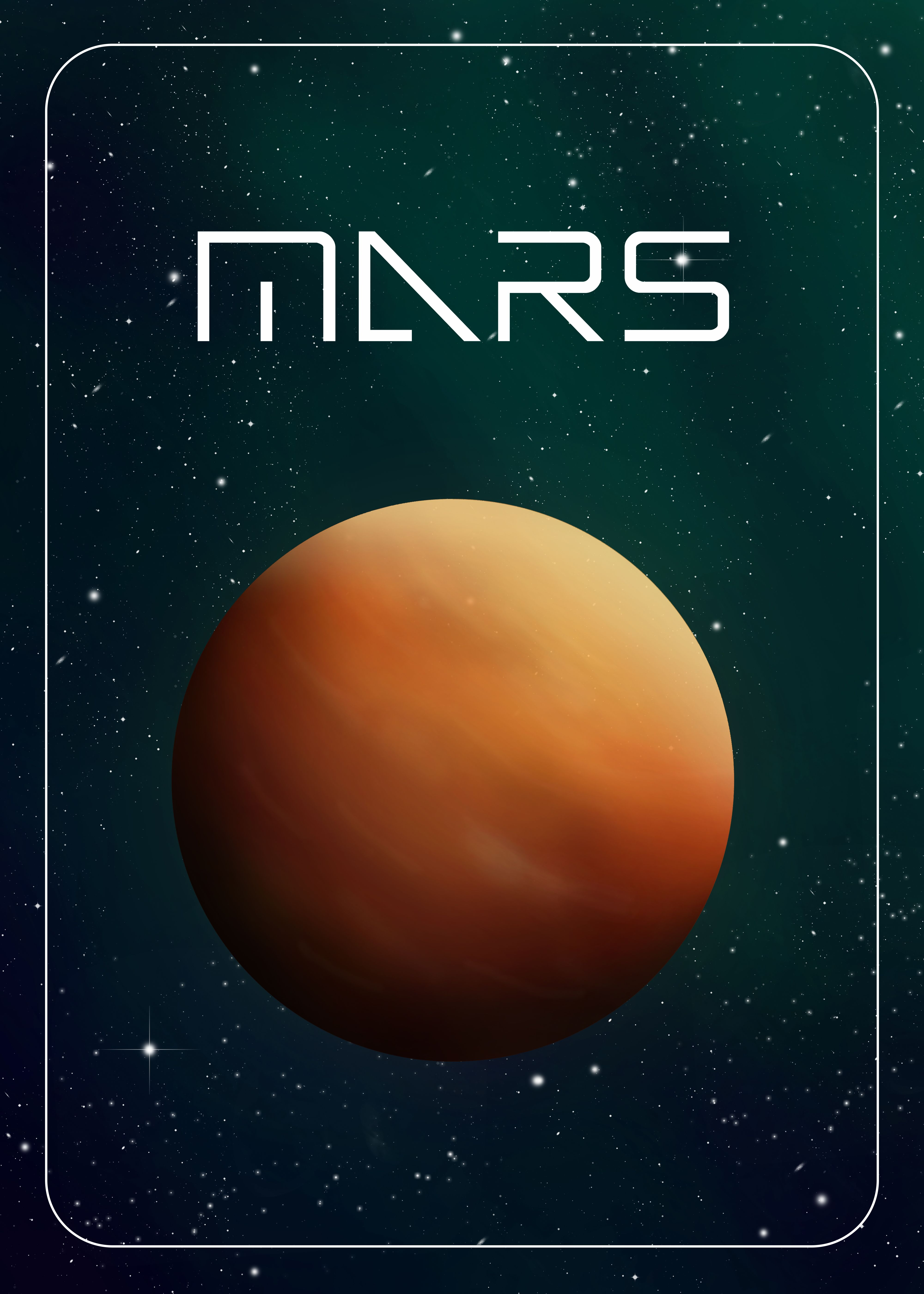 Mars Cosmos Planets Minimalistic Poster Print Metal Posters
