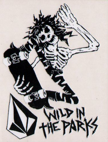 Volcom skateboard sticker wild in the parks skeleton skull bones new skate sk8 by volcom