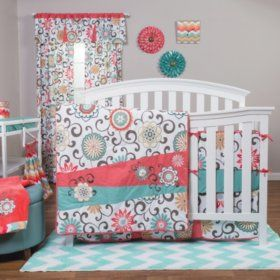 Waverly Pom Pom Play 4 Piece Crib Bedding Set Coral