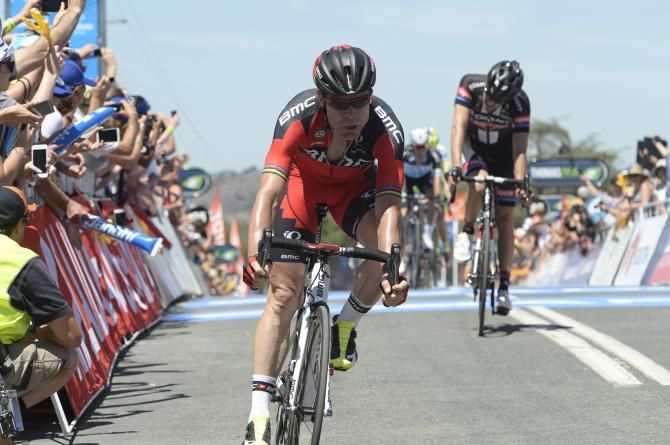Cadel Evans (BMC) crosses the line in second place Photo credit © Fotoreporter Sirotti