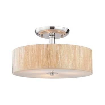 Modern organics semi flush ceiling light white sawgrass elk lighting at lightology