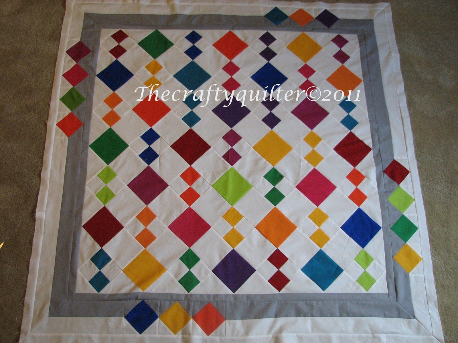 Amish style Diamond in a Square QUILT TOP Perfect to showcase your quilting
