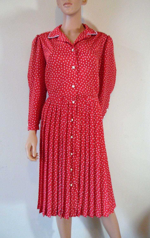 Red polka dot shirt dress retro vintage s french long sleeved