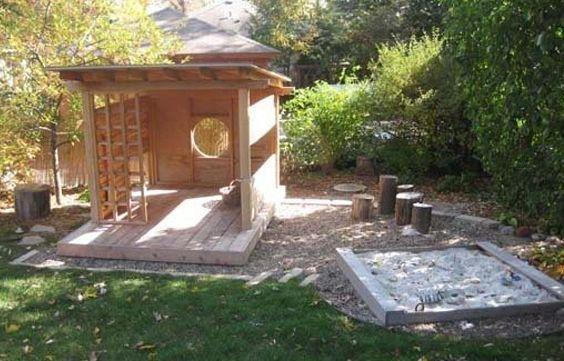 Gartengestaltung Mit Holzhaus Und Spielecke Für Kinder