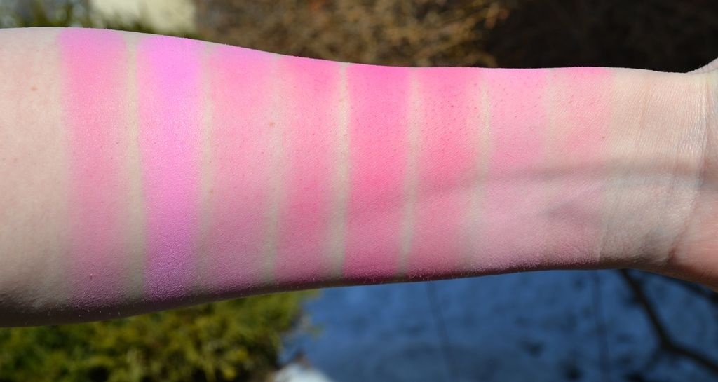 Hot Pink Blush Comparison Swatches L-R (in direct sunlight ...
