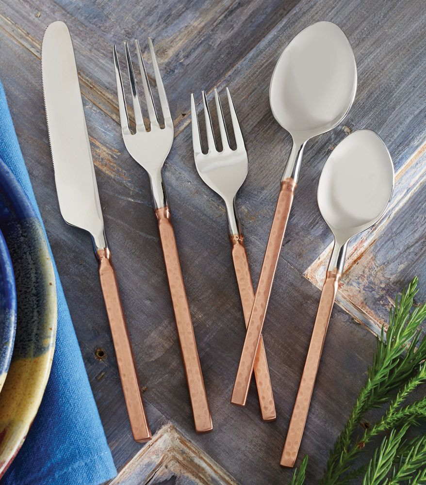 Hammered Copper Flatware Set 5 Pcs For The Home