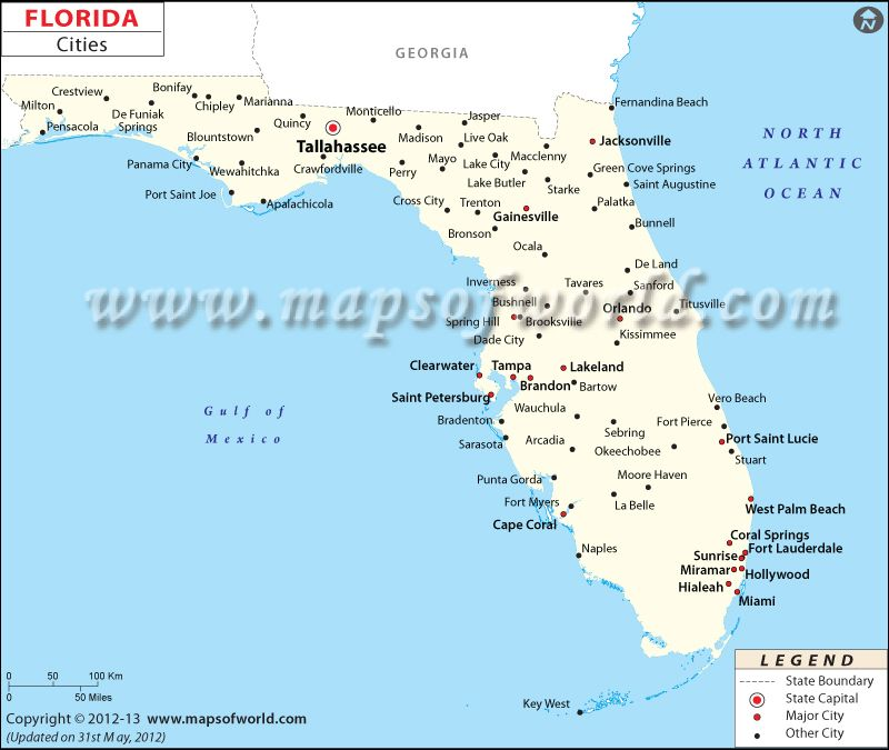 Map Of Florida And Georgia Cities.Cities In Florida Travel Map Of Florida Cities Florida City Map