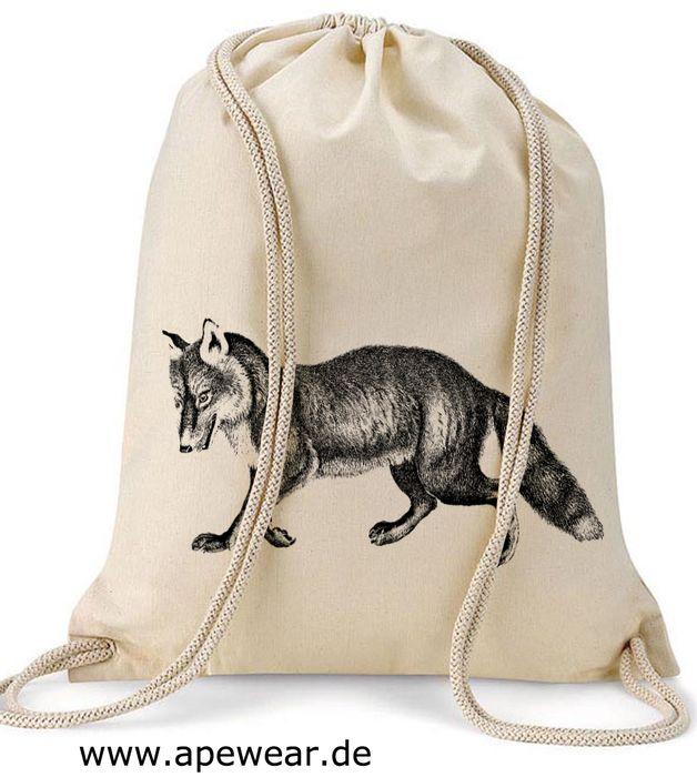 Turnbeutel - Turnbeutel Fuchs - ein Designerstück von moorschwinpres bei DaWanda