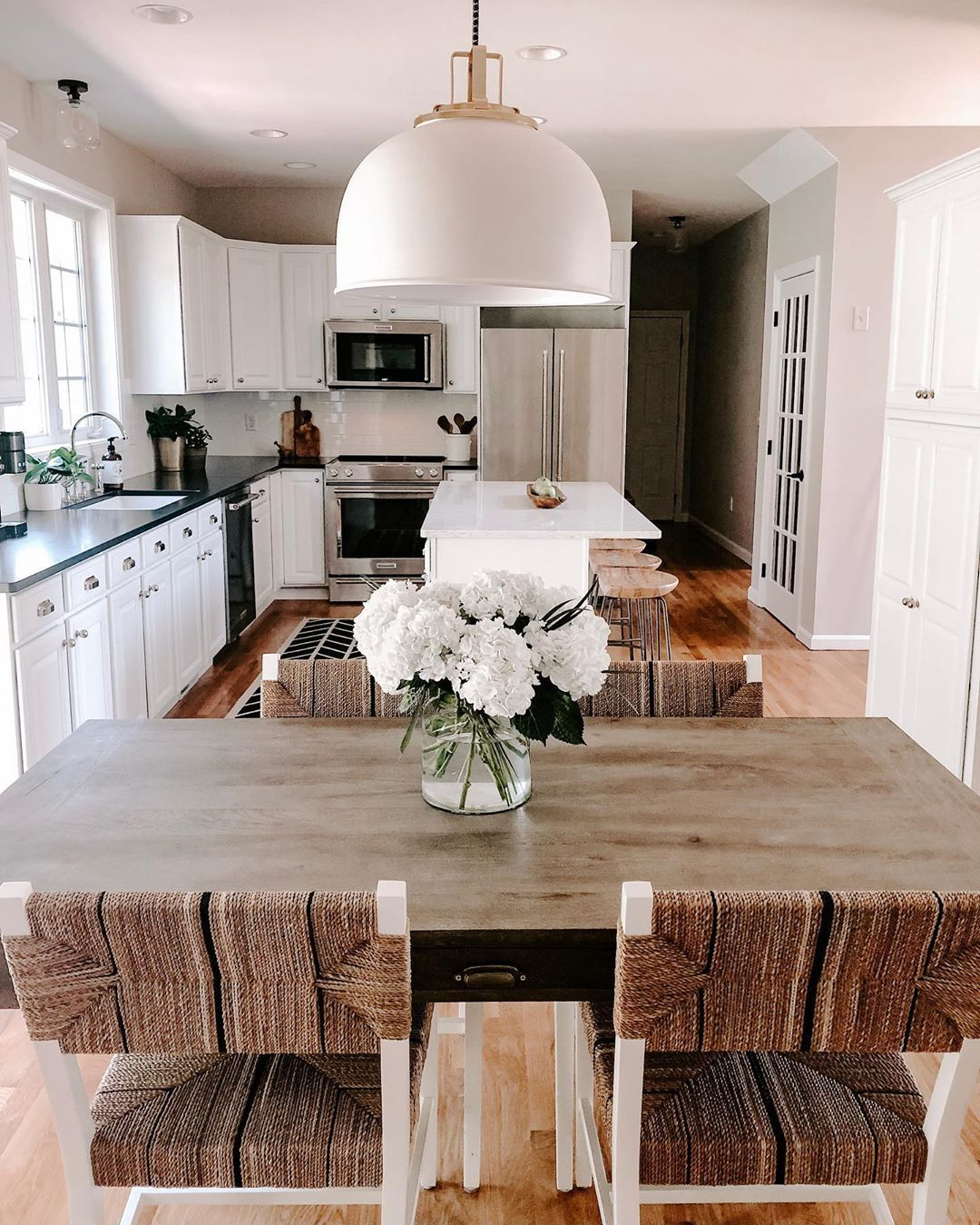 light and airy kitchen  kitchen table decor modern
