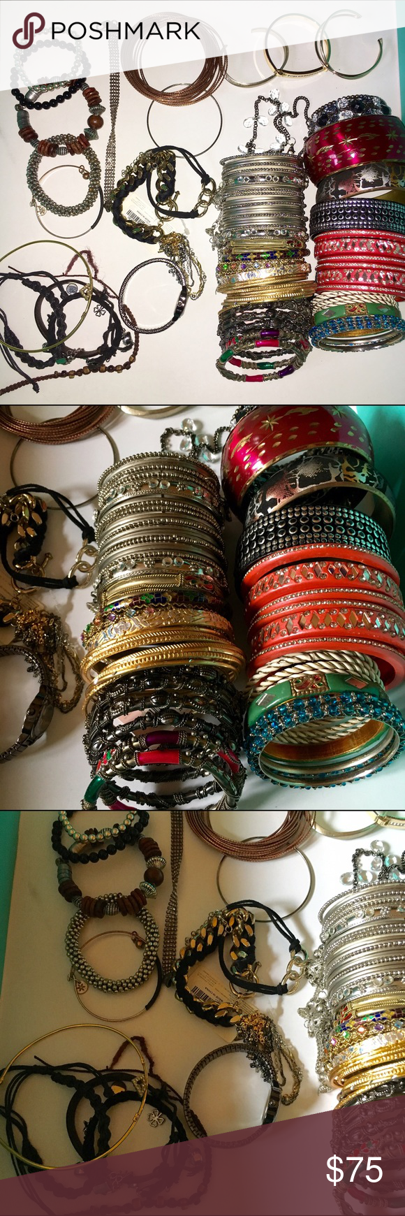 Bracelet collection 35 piece 35 individual sets of arm jewelry- bracelets, bangles, and a watch and arm band. All are in great shape with many new and unworn pieces Jewelry Bracelets
