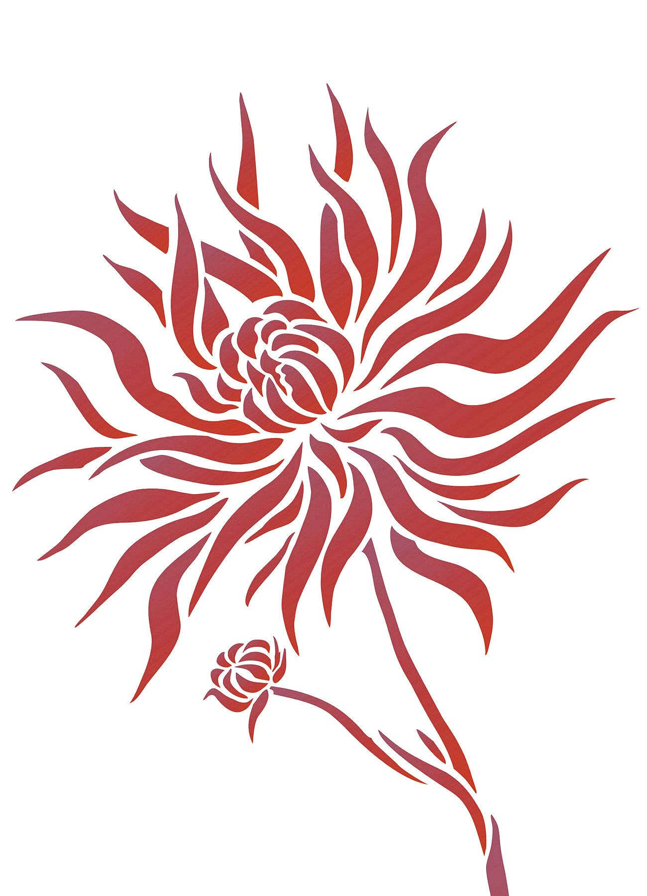 Chrysanthemum Flower Stencil 2 (с изображениями ...