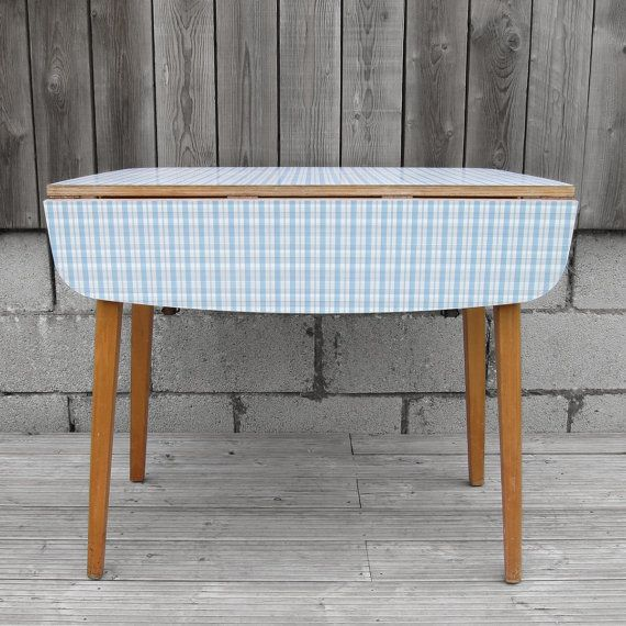 Attractive 1960s Original Old Blue Check Formica Folding Kitchen Table On Etsy, £135.00