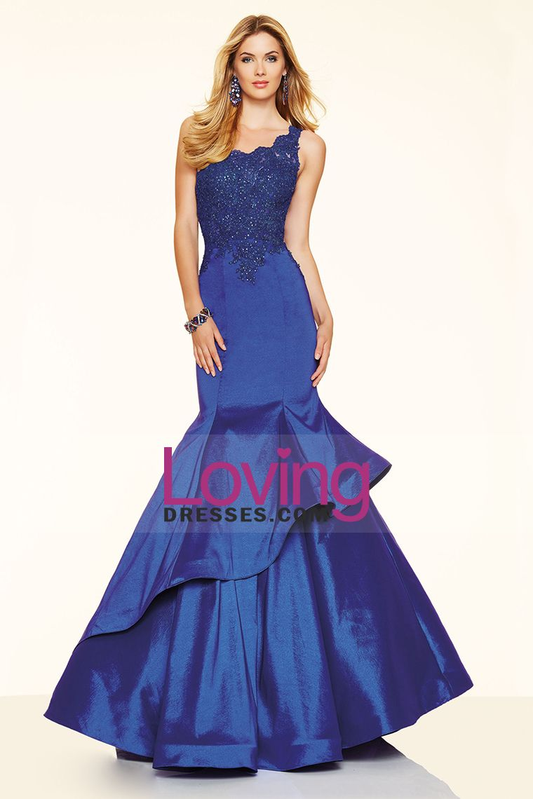 one shoulder dark royal blue mermaid prom dresses taffeta with