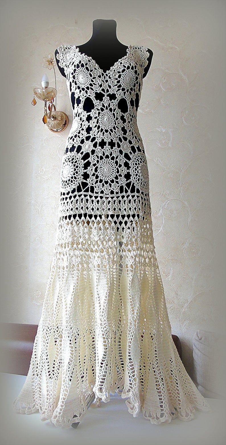 Wedding dress Custom crochet wedding dress ivory lace