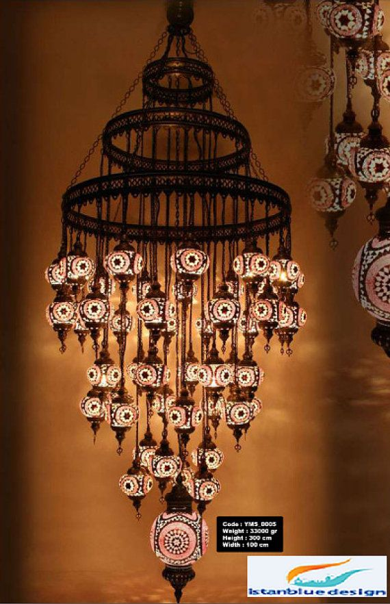 Stunning Turkish Mosaıc Chandelier 49 Globe by IstanblueDesign