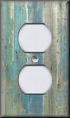 Light Switch Plate Cover Beach Aged Wood Image Blue Coastal Home Decor