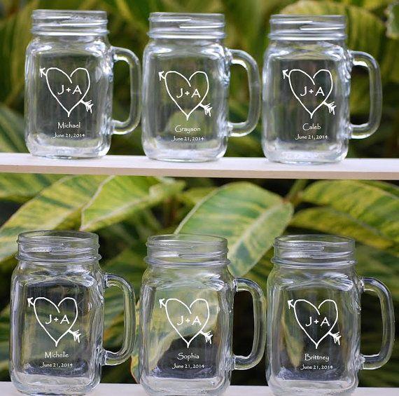 Wedding Party Gifts Set Of 6 Personalized Mason Jar Mugs Etsy Gifts For Wedding Party Wedding Party Gifts Groomsmen Personalized Mason Jars