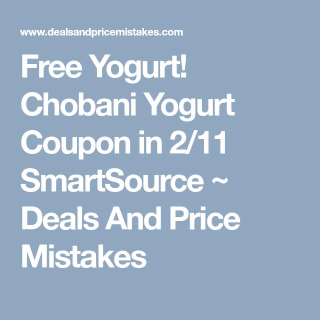 Free Yogurt Chobani Yogurt Coupon In 2 11 Smartsource Chobani