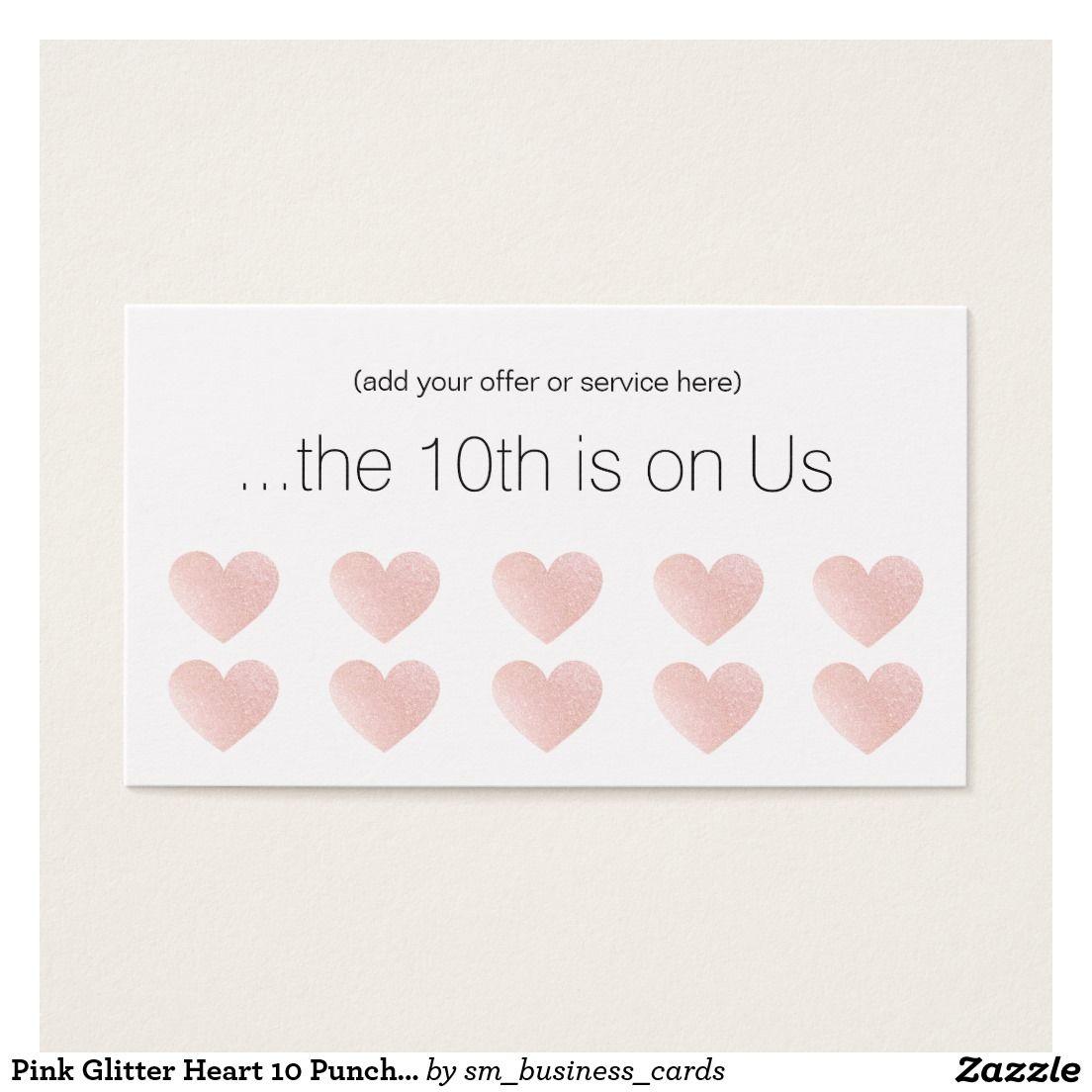 Pink Glitter Heart 10 Punch Salon Customer Loyalty