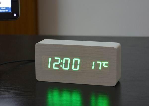 Fibisonic Led Reloj Despertador Wooden Alarm Clocks Desktop Table