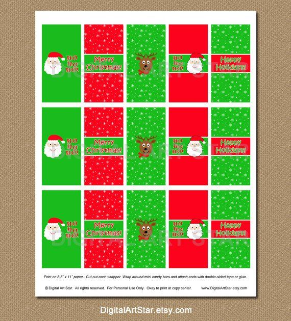 Printable Christmas Candy Wrappers - Candy Bar Wrappers - DIY
