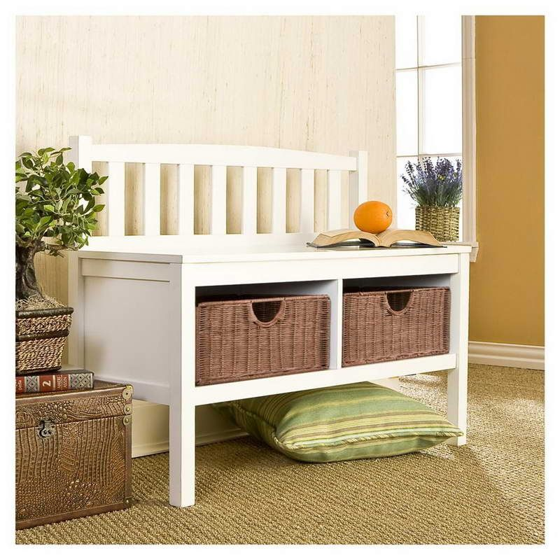 Small Entryway Basket Storage Bench With Gorgeous Designs