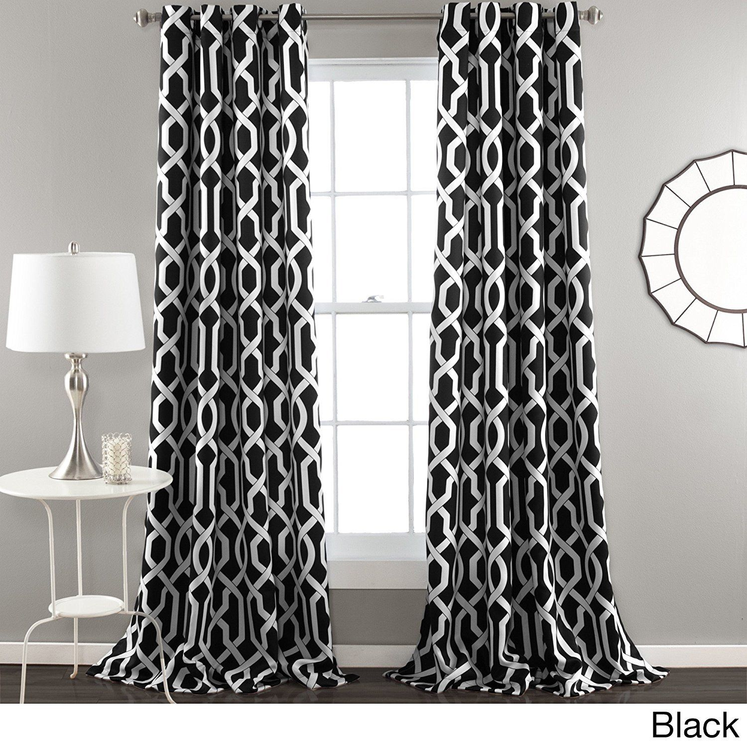 84 Inch Bold Black White Moroccan Curtains Panel Pair Set Black