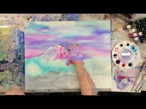 Super Fast Time Lapse Of Alcohol Ink Painting On Canvas Youtube