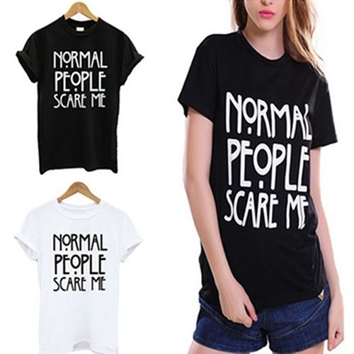 Click to Buy << Women's Fashion Casual English Letter Print Short Sleeve  Round