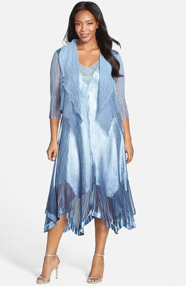 Komarov Ombré Charmeuse Handkerchief Hem Dress with Chiffon Jacket ...