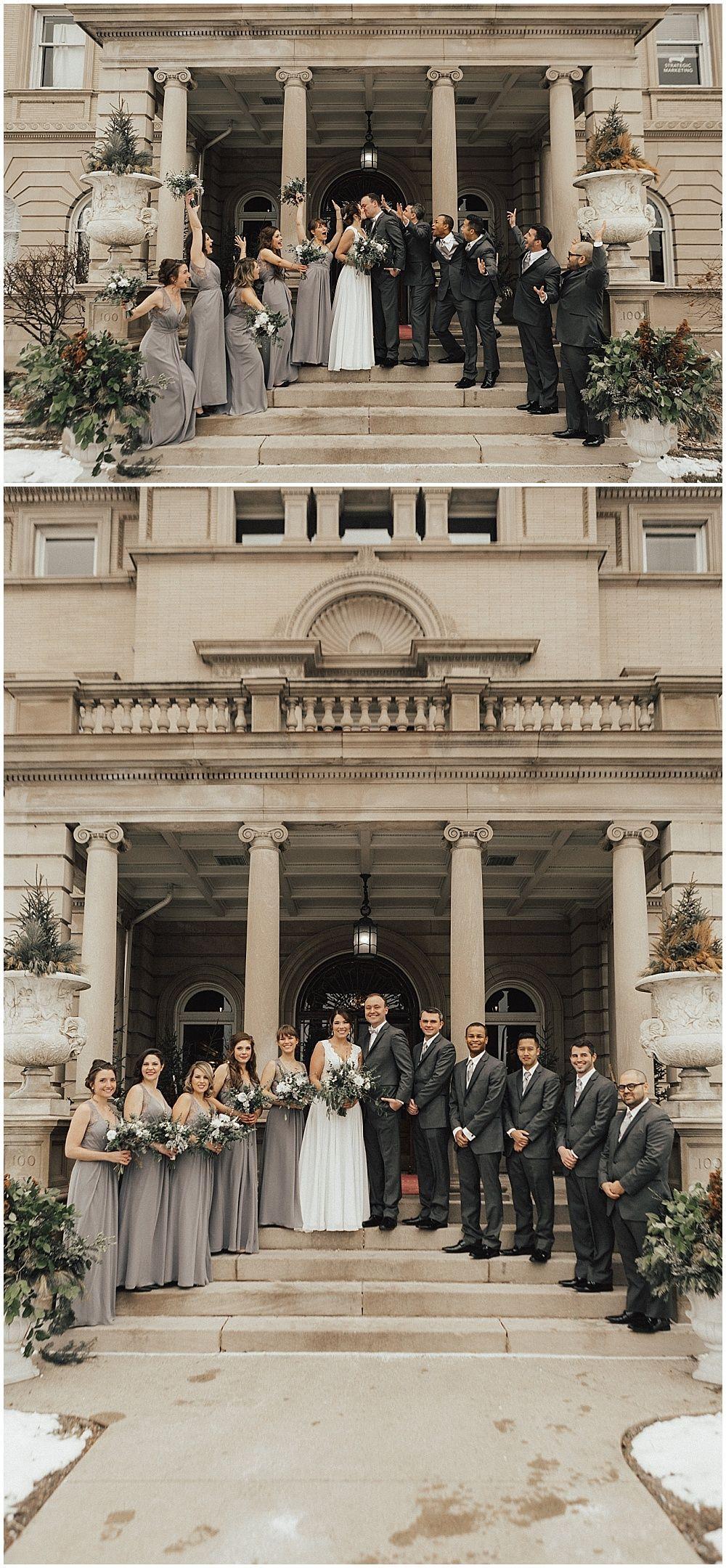 Wedding floral at Semple Mansion winter wedding designed by Minneapolis wedding florist Artemisia Studios. Photos by Kiana Grant Photography (http://kianagrantphotography.com/). #flowers #floral #weddingfloral #weddingparty #semplemansion #artemisiastudios #minneapolisweddingflorist